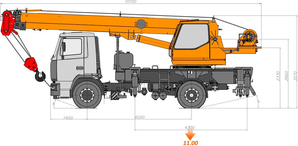 Габаритные размеры автокрана КС-35719-5-02